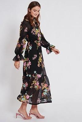 376290cce19 Long Ruffle dress Tegusa from rose flower mesh | Ana Alcazar
