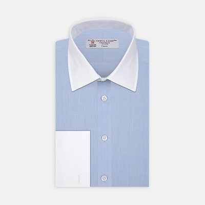 e5cad164 Light Blue End-on-End Cotton Shirt with White Classic T&A Collar and Cuffs