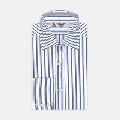 82b04175650 Blue and White Trio Stripe Shirt with T&A Collar and 3-Button Cuffs
