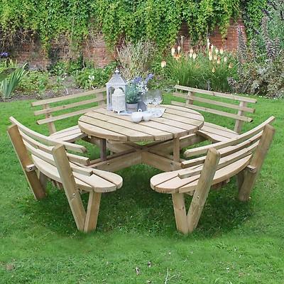 Forest Circular Wooden Garden Picnic, Round Wooden Table For Garden