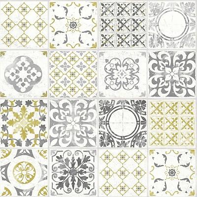 Porto Moroccan Tile Effect Wallpaper Mustard