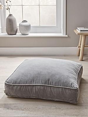 Velvet Floor Cushion Blush