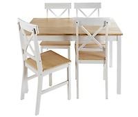 Conjunto mesa y 4 sillas ASHLEY Blanco - Conforama