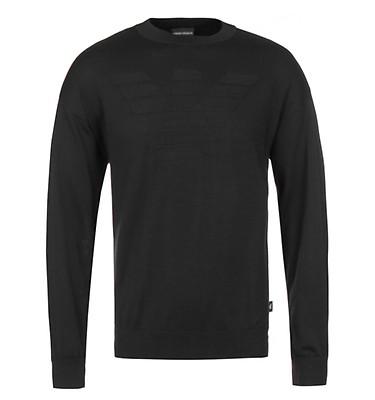 e53aa23de91 Emporio Armani Black Embossed Eagle Knitted Sweatshirt ...