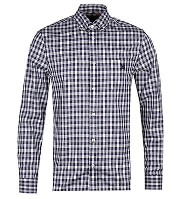 8c3f28aaff Aquascutum York Vicuna White   Navy Check Long Sleeve Shirt offer label