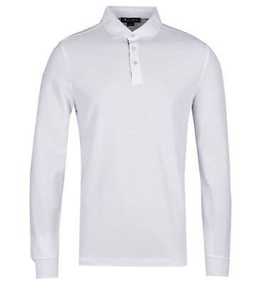 3f73b9fb Aquascutum Hillington Long Sleeve White Polo Shirt ...