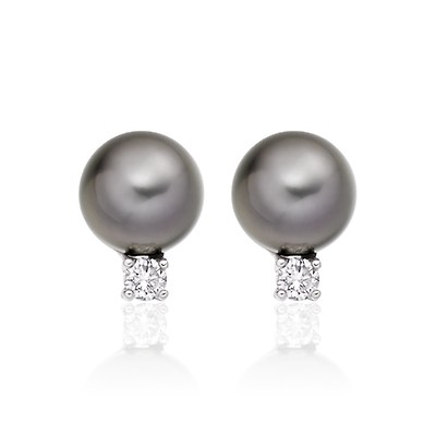 Silver Grey Tahitian Pearl And Diamond Studs In White Gold