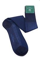 Shadow Stripe Ribbed Socks Dark Navy Blue and Royal Blue Fil d'Ecosse Cotton - Fort Belvedere