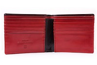 Men's Leather Wallet in Black and Red Boxcalf with 10 Card Slots by Fort Belvedere