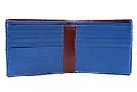 Men's Leather Wallet in Whisky Brown Boxcalf and Blue Deerskin with 10 Card Slots by Fort Belvedere