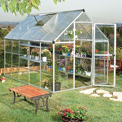 6'x6' (1 8 x 1 8m) Palram Harmony Silver Greenhouse - Clear