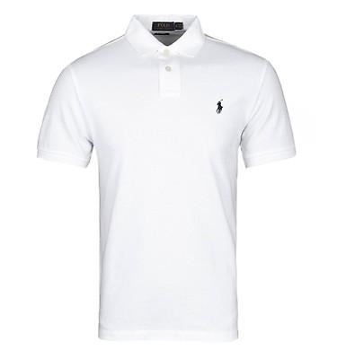 d940a29e3 Polo Ralph Lauren White Short Sleeve Custom Slim Fit Pique Polo Shirt ...