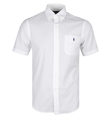 a38c4383 Polo Ralph Lauren Short Sleeve Slim Fit White Seersucker Shirt ...