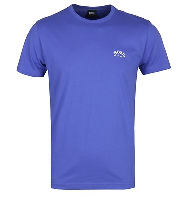 7be1a4fc1 BOSS Curved logo Crew Neck Electric Blue T-Shirt ...