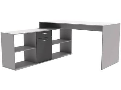 Bureau avec rangements zacharie blanc et gris interieurs
