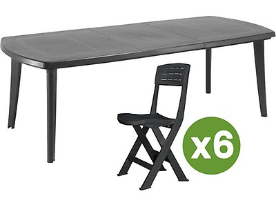 Table de jardin aluminium perforée - 180/240 110 x 73 cm. 61753