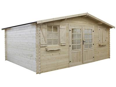 Abri jardin bois traité autoclave - 22.80 m² - 5.26 x 4.32 x 2.46 m ...