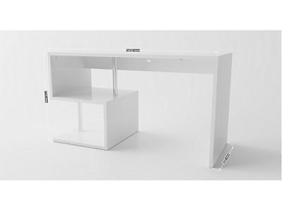 Secrétaire bureau design cm en bois teinté blanc mobexia