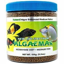 NLS Herbivore Diet AlgaeMAX 2 to 2.5mm Sinking Pellet Food (150g Jar) - New Life Spectrum