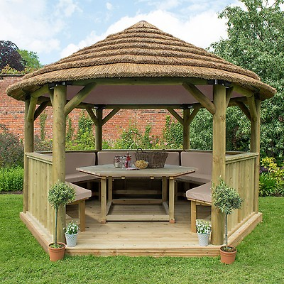 13'x12' (4x3 5m) Luxury Wooden Furnished Garden Gazebo with