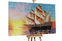 Acryl Gemälde /'SCHIFF PIRATEN MEER BLAU/'HANDGEMALTLeinwand Bilder 60x90cm