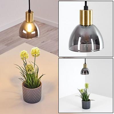 EGLO Pendellampe Safi, 3 flammige Vintage Pendelleuchte im Industrial Design, Retro Hängelampe aus Stahl, Farbe: Braun, gold, Fassung: E27