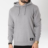 Monogram Calvin Sweat Chiné Badge 7950 Klein Gris Logo Capuche CwqfAwg