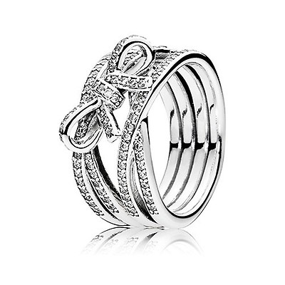 10fe83de5 PANDORA Silver Delicate Sentiments Bow Twist Ring