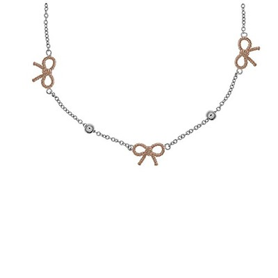 Olivia Burton Rose Gold Plated Vintage Bow And Ball Necklace