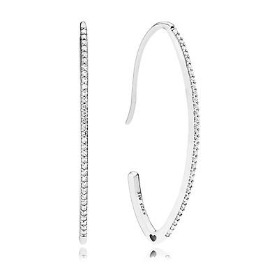 7b3fbdaff PANDORA Silver Oval Sparkle Hoop Earrings