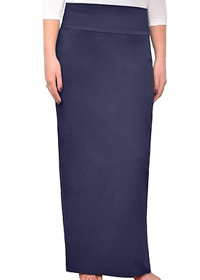 88366d4897411 Navy Women's Modest Cotton Lycra Stretch Long Maxi Pencil Skirt –Plus Size