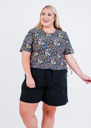 """Plus Size Lena Swim Top With 7"""" Board Shorts"""