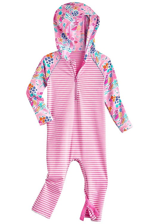 Coolibar UPF 50 Baby Finn Hooded One-Piece Swimsuit