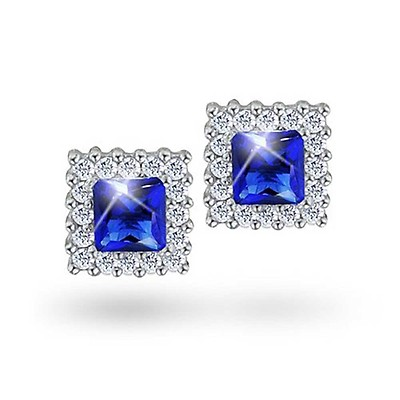 2e86bb1ac 1.59 CT Oval CZ Halo Crown Royal Blue Cubic Zirconia Stud Earrings ...