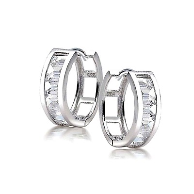 c3ad4a580 Tiny Carved Roman Numeral Sleek Huggie Hoop Earrings For Women 925 ...