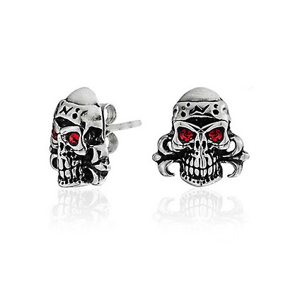 920573c71 Caribbean Pirate Skull And Crossbones Heart Eyes Stud Earrings For ...