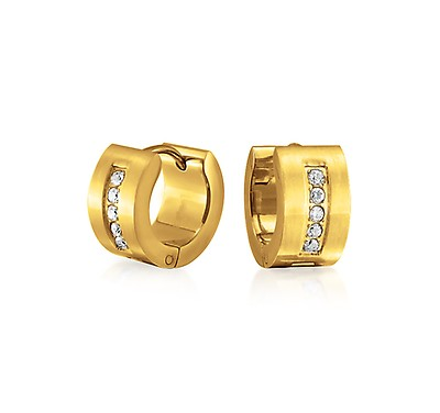 0d13963ba Black Cubic Zirconia Micropave CZ Huggie Hoop Kpop Earrings Mens ...