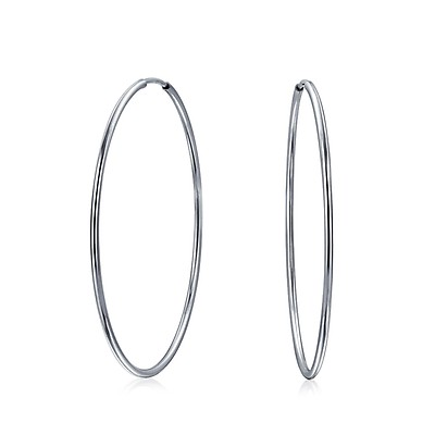 69d87116057b18 Bali Style Tribal Ball Bead Continuous Endless Round Hoop Earrings ...