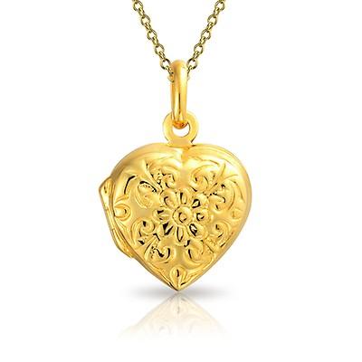 9eebb242c7b8b3 18k Gold Plated Brass Star Pattern Filigree Heart Shaped Locket ...