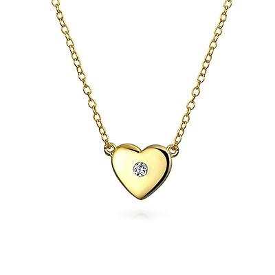 260aee774006c Tiny Heart Shape 14K Yellow REAL Gold Shinny High Polish Station ...