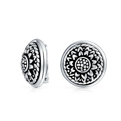 ce5132ae8 Vintage Style Marcasite Fan Circle Black Clip On Earrings For Women ...