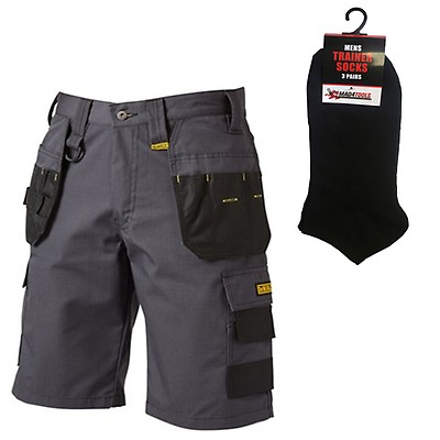 8ffe0b3438 DeWalt Cheverley Multi-Pocket Work Shorts Grey (All Sizes) & FREE Socks x