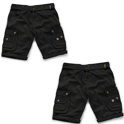 68d00c1d1b Scruffs Twin Pack Vintage Cargo Cotton Trade Work Shorts Black (Various  Sizes)