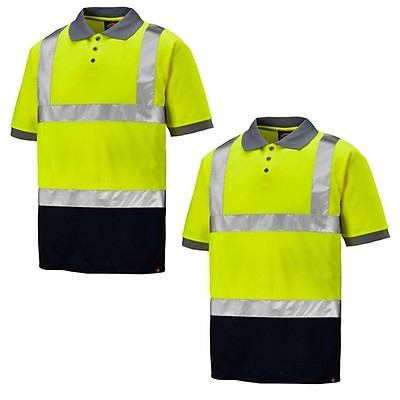 e6b154e8 Dickies Twin Pack Hi-Vis Taped Two Tone Polo Shirt Yellow & Navy (Sizes
