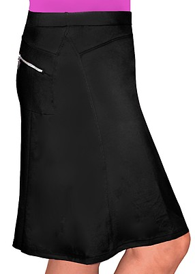 f9e4028bf4 Black Modest Knee Length Running/Swim Skirt with Spandex Shorts with UPF  50+ UV protection