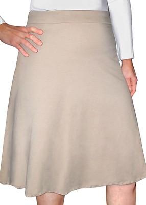 Beige Women s Modest Cotton Spandex Knee-Length A-Line Skirt b44708c22