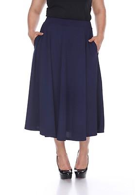 78bda6c2afe Plus Size Tasmin Flare Midi Skirt - Navy