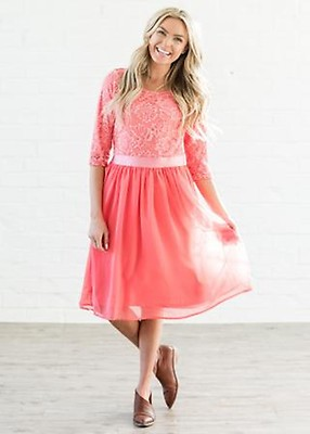 Laura Elegant 3 4 Sleeve Modest Dress