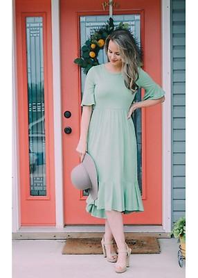 1d06bed850c Ruffle Midi Layering Dress - Mint