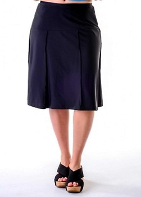 5e1915d3950 Black Below the Knee Exercise Swim Skirt   Attached shorts 24 inches